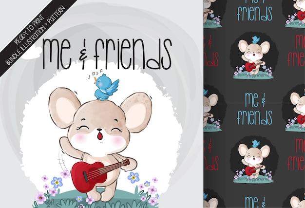 Ratón bebé animal lindo feliz cantando con patrones sin fisuras de aves