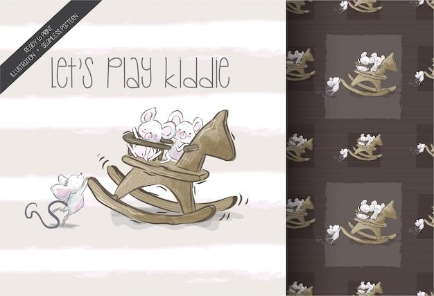 Ratón de bebé de dibujos animados feliz jugando juguete de patrones sin fisuras