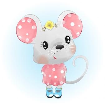 Ratón bebé en estilo acuarela.