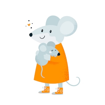 Ratón. bebé y madre. linda linda familia feliz