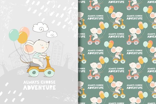 Ratón de dibujos animados andar en bicicleta estilo dibujado a mano ilustración. tarjeta y patrón sin costuras