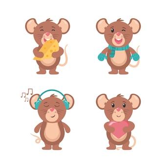 Ratón de dibujos animados animal feliz alegre mascota