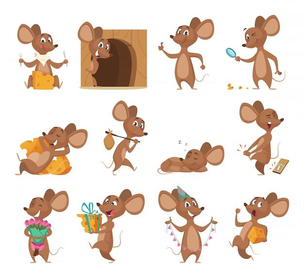Ratón de dibujos animados divertidos ratoncitos de laboratorio de animales con imágenes de colección de queso