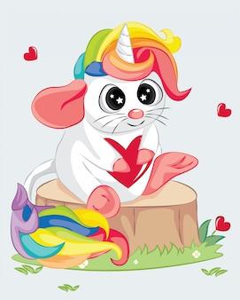 Ratón de dibujos animados lindo bebé con cuerno de unicornio y cabello arcoiris