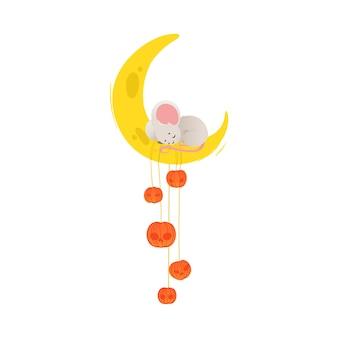 Ratón de dibujos animados lindo durmiendo en la luna de queso con calabazas - media luna amarilla con adorable ratoncito gris tomando una siesta. ilustración sobre fondo blanco.