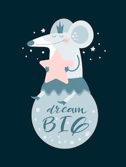 Ratón de dibujos animados lindo