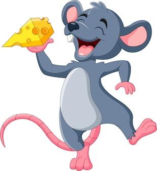 Ratón de dibujos animados con loncha de queso