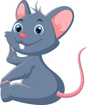 Ratón de dibujos animados posando sentado