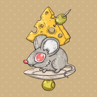 Ratón de dibujos animados con queso y aceitunas. ilustración de dibujos animados en estilo cómic de moda.
