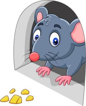 Ratón de dibujos animados y queso en el agujero