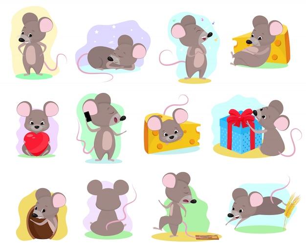 Ratón de dibujos animados ratón animal personaje roedor y rata divertida con ilustración de queso mousey set