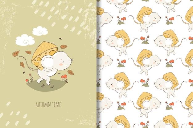 Ratón de dibujos animados con trozo de ilustración de queso. tarjeta y patrón sin costuras