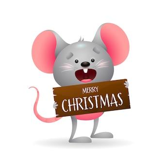Ratón divertido lindo que desea feliz navidad