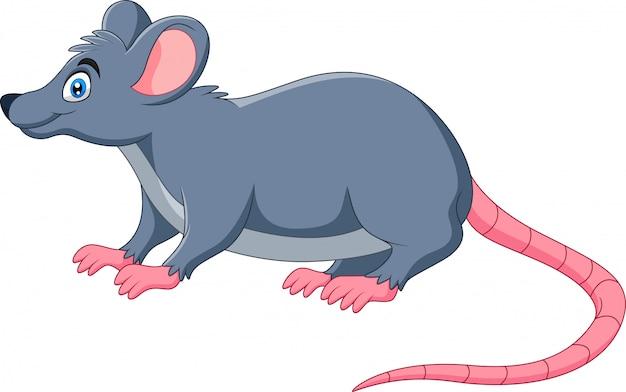 Un ratón feliz divertido de dibujos animados