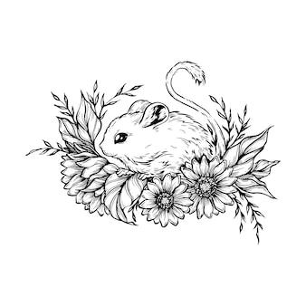 Ratón con flores.