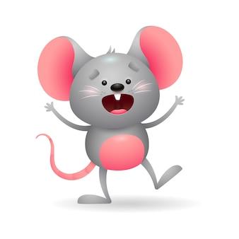 Ratón gris alegre en emoción