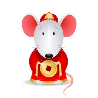 Ratón gris con moneda china