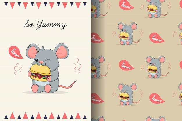Ratón lindo comiendo hamburguesa de patrones sin fisuras y tarjeta