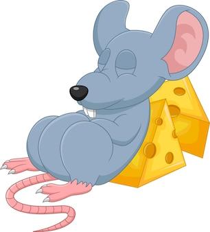 Ratón lindo de dibujos animados durmiendo sobre fondo blanco