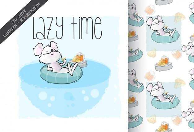 Ratón lindo de dibujos animados feliz relajarse tiempo de patrones sin fisuras
