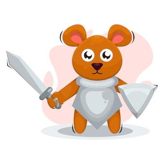Ratón lindo con dibujos animados de mascota de armadura