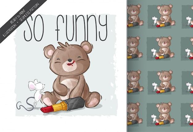 Ratón lindo de dibujos animados con patrones sin fisuras de oso