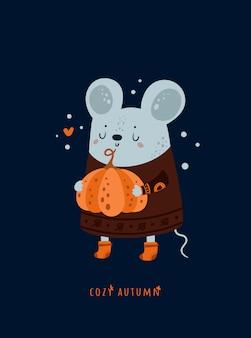 Ratón lindo encantador de ratones con calabaza. acogedor otoño.