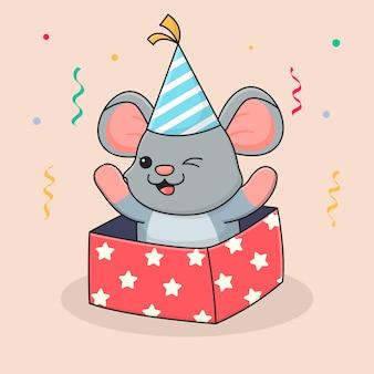 Ratón lindo feliz cumpleaños