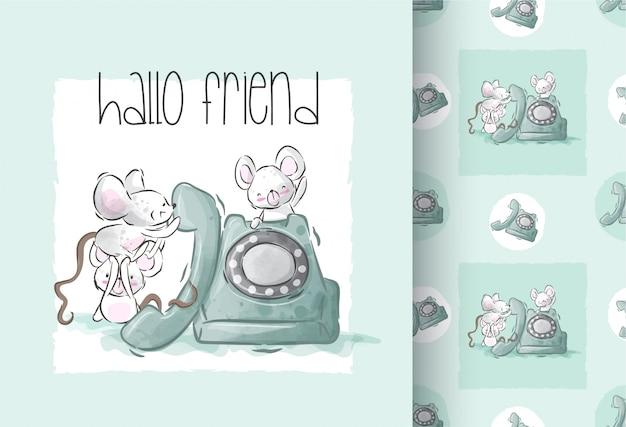 Ratón lindo feliz jugando ilustración con patrones sin fisuras