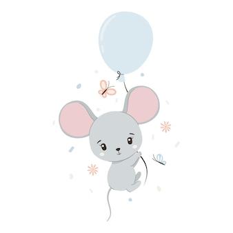 Ratón lindo con globo y mariposas