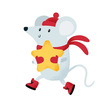 Ratón lindo en gorro y bufanda con gran estrella.