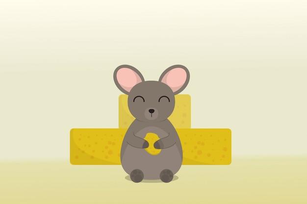 Ratón lindo llevando queso sobre un queso