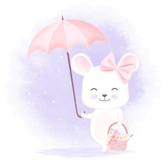 Ratón lindo que sostiene la ilustración de la cesta del paraguas y de la flor