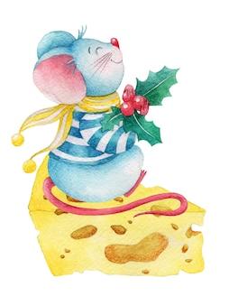 Ratón de navidad acuarela con bayas de acebo en trozo de queso