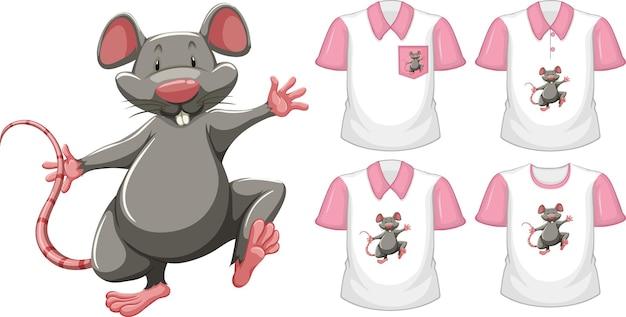 Ratón en posición de soporte personaje de dibujos animados con muchos tipos de camisas en blanco