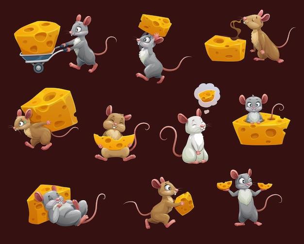 Ratón y rata con dibujos animados de queso