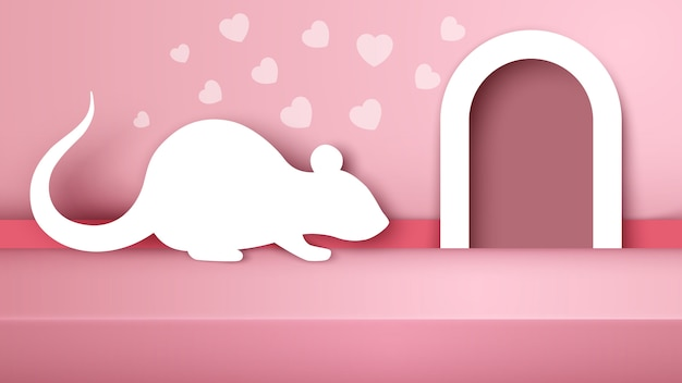 Ratón, rata ilustración de papel blanco.