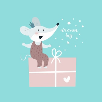Ratón con regalo. tarjeta