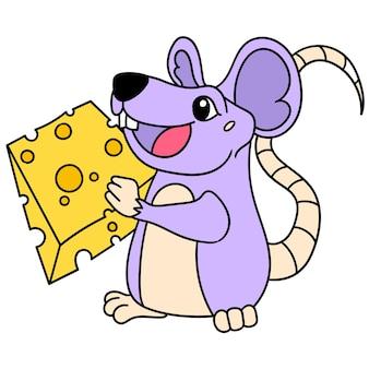 El ratón trae felizmente una rebanada de queso para comer, doodle dibujar kawaii. arte de ilustración vectorial