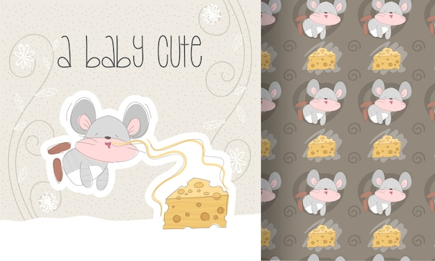 Ratoncito lindo de dibujos animados plana con patrones sin fisuras de queso