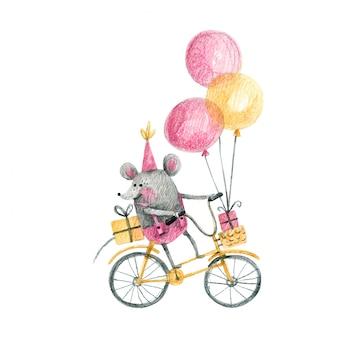 Un ratoncito monta una bicicleta con globos y regalos ilustración