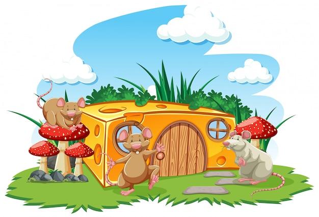 Ratones con casa de queso en el jardín estilo de dibujos animados sobre fondo de cielo