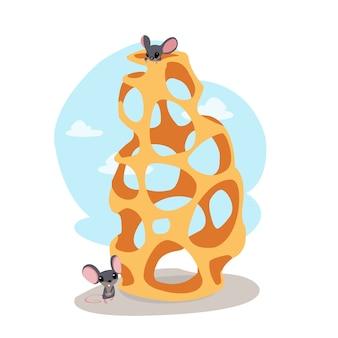 Ratones divertidos comiendo queso