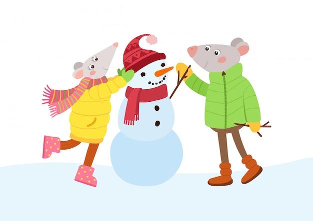 Ratones pareja haciendo muñeco de nieve ilustración vectorial plana.
