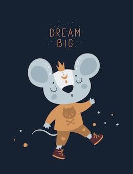 Ratones príncipe ratón en la corona. sueño grande