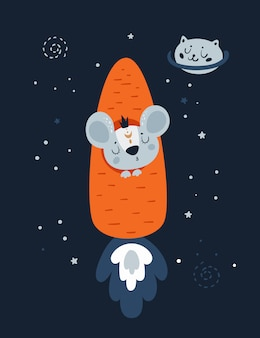 Ratones rata de ratón en cohete de zanahoria y planeta gato en el espacio.
