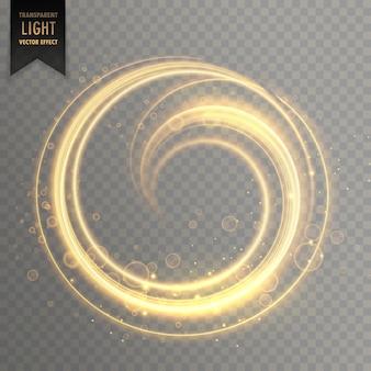 Raya de luz circular en color dorado