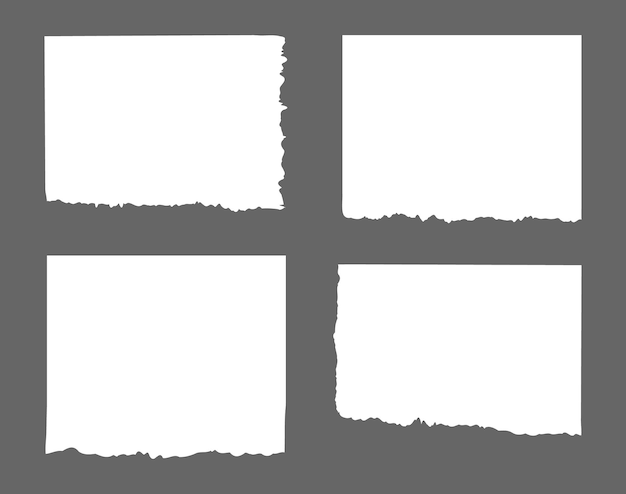 Rayas blancas rasgadas, papel de diferentes recortes, bloc de notas, notas para texto o mensaje atascado