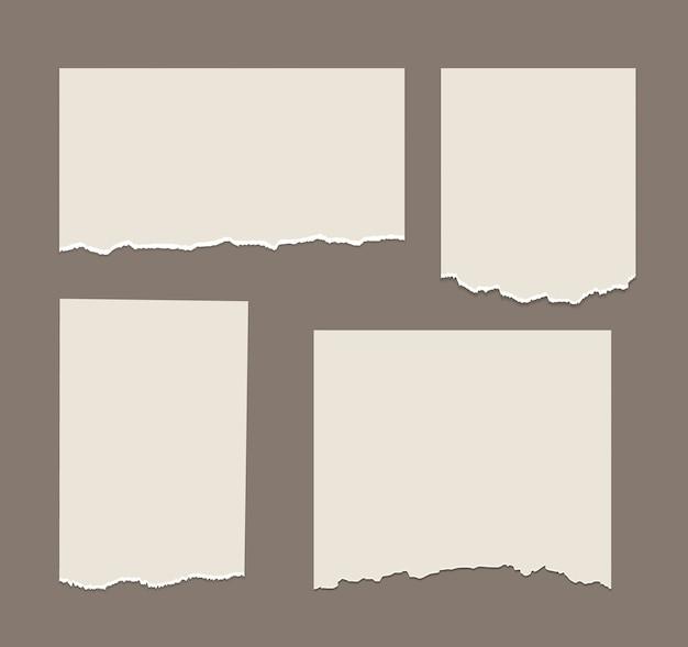 Rayas blancas rasgadas papel diferentes restos de notas de bloc de notas