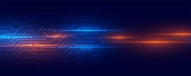 Rayas de luz brillante con líneas de circuitos de tecnología
